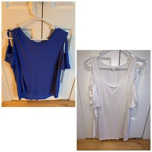 Two cute summer shirts, cold shoulder style!
